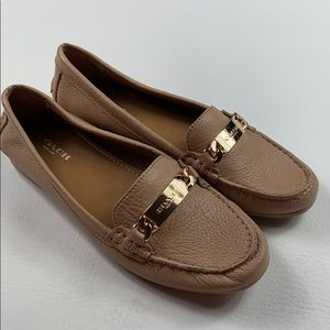 Nwot Coach driving moccasin tan & gold loafers 6.5